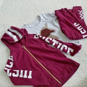 Justice Girls Burgundy Track Pant Suit Unicorn Top